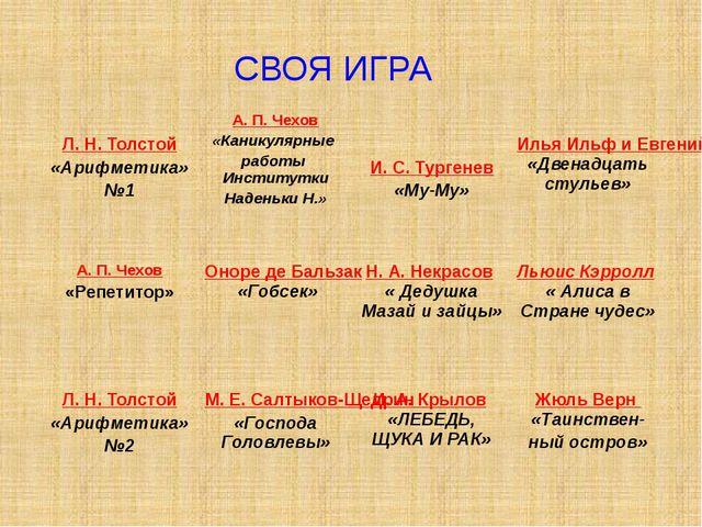 СВОЯ ИГРА Л. Н. Толстой «Арифметика» №1 А. П. Чехов «Каникулярные работы Инст...