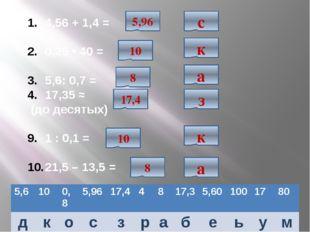 4,56 + 1,4 = 0,25 • 40 = 5,6: 0,7 = 17,35 ≈ (до десятых) 1 : 0,1 = 21,5 – 13