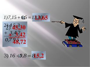 13,65 2) 45,30 + 3,42 48,72 15,2