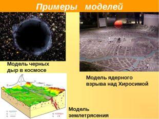 Примеры моделей Модель черных дыр в космосе Модель ядерного взрыва над Хироси