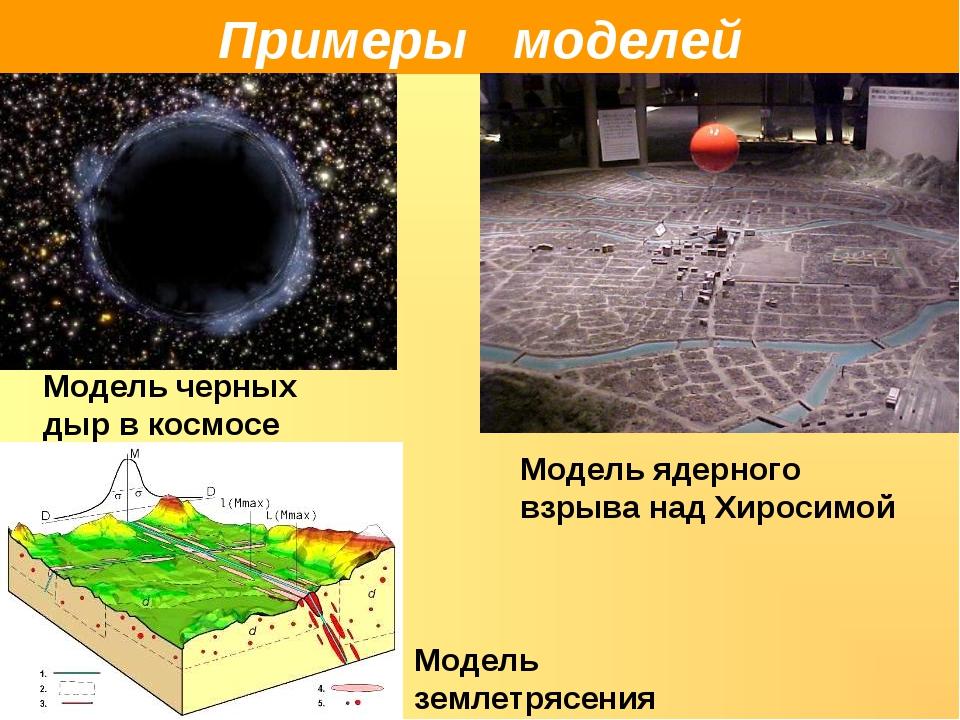 Примеры моделей Модель черных дыр в космосе Модель ядерного взрыва над Хироси...