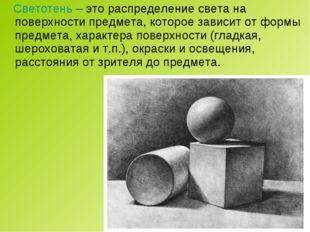 Светотень – это распределение света на поверхности предмета, которое зависит