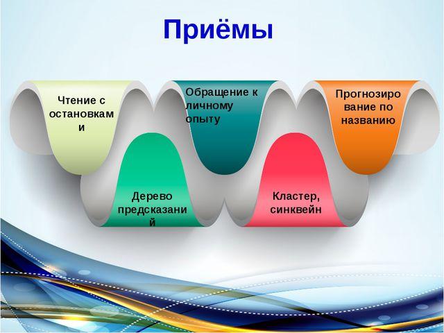 Приёмы Чтение с остановками Обращение к личному опыту Прогнозирование по назв...