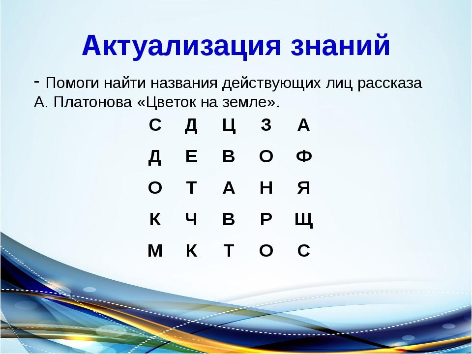 Актуализация знаний Помоги найти названия действующих лиц рассказа А. Платоно...