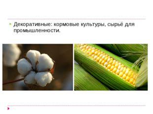 Декоративные: кормовые культуры, сырьё для промышленности.