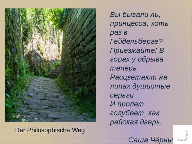 Der Philosophische Weg Вы бывали ль, принцесса, хоть раз в Гейдельберге? Прие...