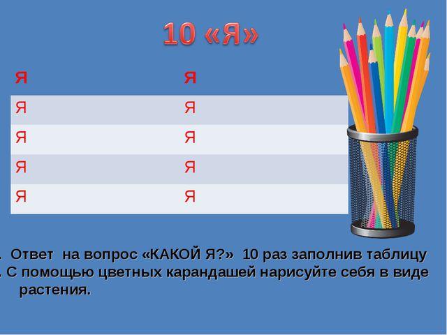 Ответ на вопрос «КАКОЙ Я?» 10 раз заполнив таблицу С помощью цветных каранда...