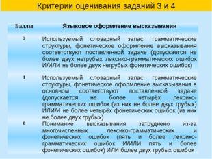 Критерии оценивания заданий 3 и 4 Баллы Языковое оформление высказывания 2 Ис