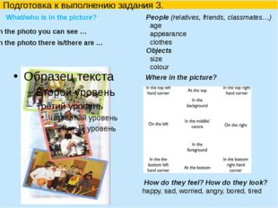 Подготовка к выполнению задания 3. What/who is in the picture?  How do the