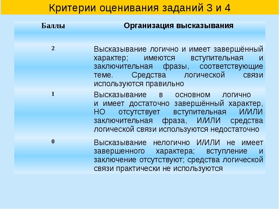 Критерии оценивания заданий 3 и 4 Баллы Организация высказывания 2 Высказыван...