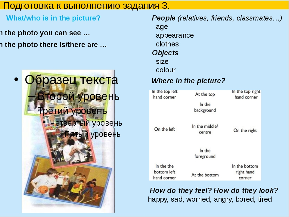 Подготовка к выполнению задания 3. What/who is in the picture?  How do the...