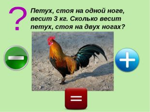 Петух, стоя на одной ноге, весит 3 кг. Сколько весит петух, стоя на двух ногах?