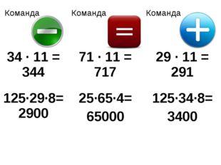 Команда КомандаКоманда 34 · 11 = 34471 · 11 = 71729 · 11 = 291 125·29·8=