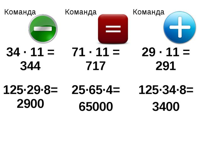 Команда КомандаКоманда 34 · 11 = 34471 · 11 = 71729 · 11 = 291 125·29·8=...