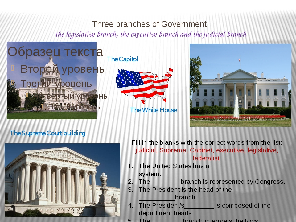 Three branches of Government: the legislative branch, the executive branch an...
