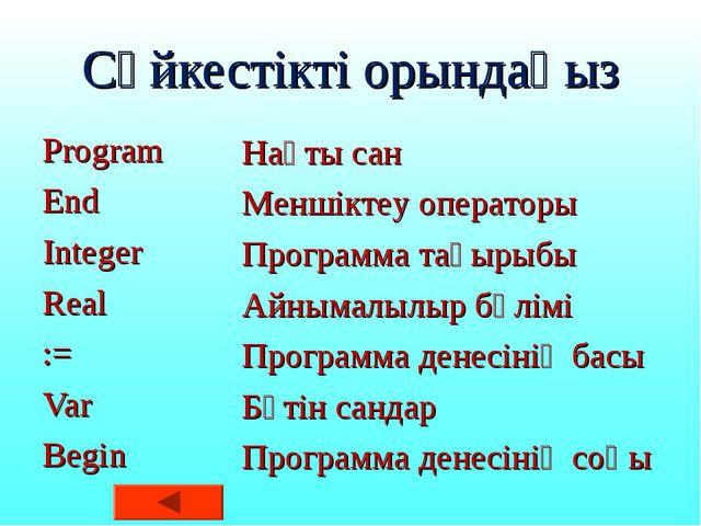 Сәйкестікті орындаңыз Program End Integer Real := Var Begin Нақты сан Меншікт...
