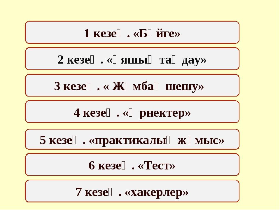 7 кезең. «хакерлер» 5 кезең. «практикалық жұмыс» 1 кезең. «Бәйге» 3 кезең. «...