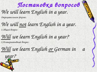 Постановка вопросов We will learn English in a year. Отрицательная форма: We