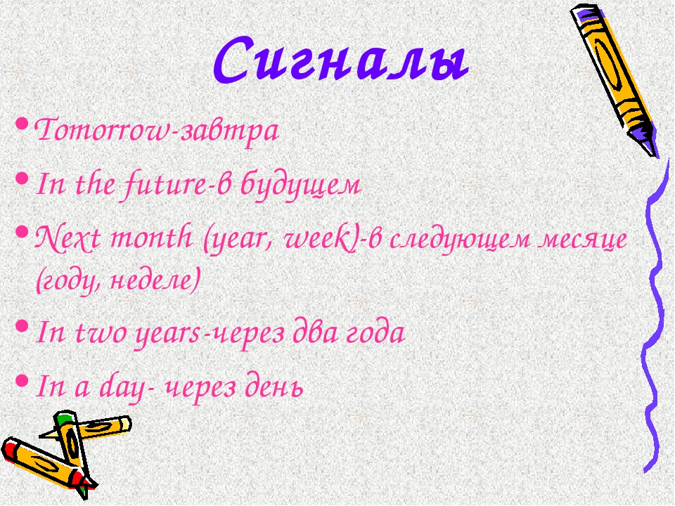 Сигналы Tomorrow-завтра In the future-в будущем Next month (year, week)-в сле...
