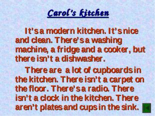Carol's kitchen It's a modern kitchen. It's nice and clean. There's a washi