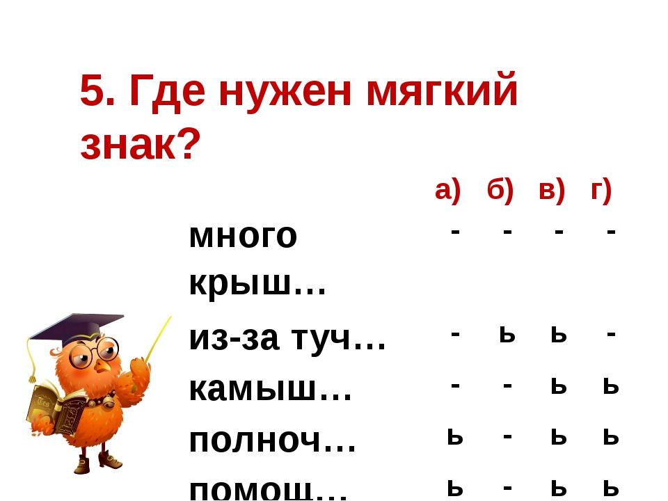5. Где нужен мягкий знак? а) б) в) г) много крыш… - - - - из-за туч… - ь ь -...