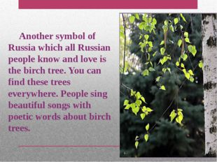 Another symbol of Russia which all Russian people know and love is the birch