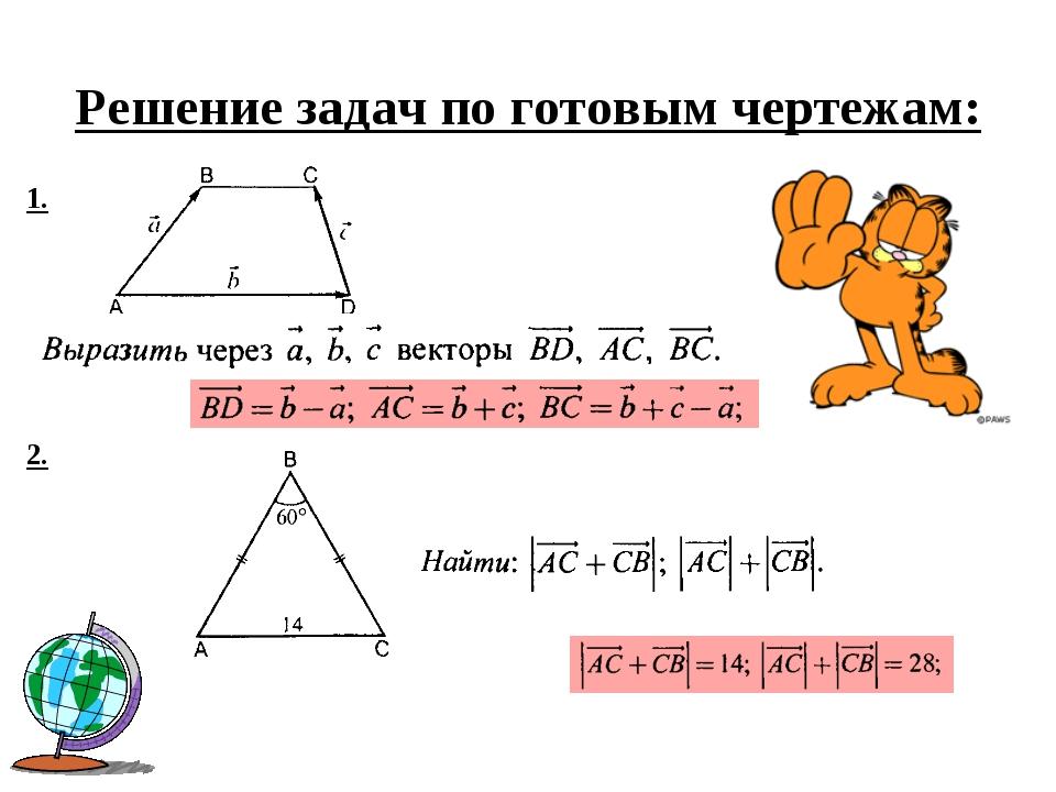 Решение задач по готовым чертежам: 1. 2.