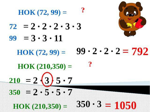 НОК (72, 99) = ? 72 99 = 2 · 2 · 2 · 3 · 3 = 3 · 3 · 11 НОК (72, 99) = 99 · 2...