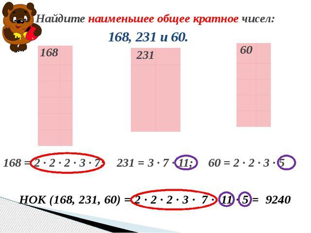 168, 231 и 60. Найдите наименьшее общее кратное чисел: НОК (168, 231, 60) =...