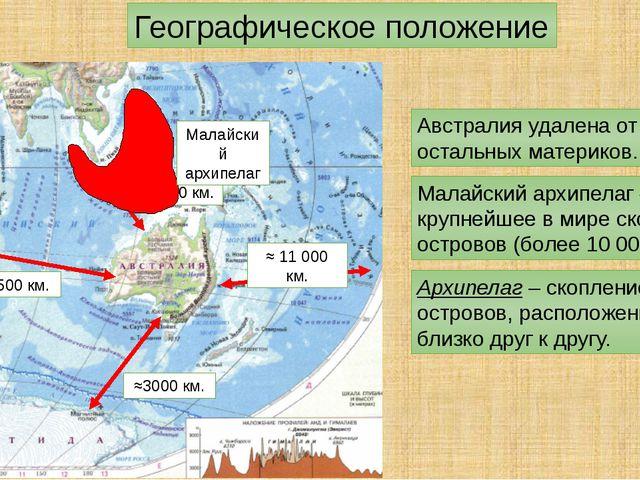 Географическое положение Австралия удалена от остальных материков. ≈2800 км....