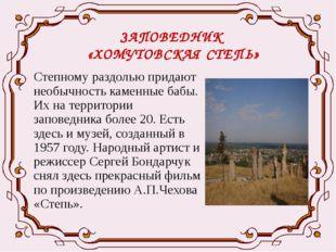 ЗАПОВЕДНИК «ХОМУТОВСКАЯ СТЕПЬ» Степному раздолью придают необычность каменные