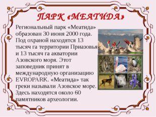 ПАРК «МЕАТИДА» Региональный парк «Меатида» образован 30 июня 2000 года. Под о