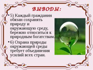 ВЫВОДЫ: 5) Каждый гражданин обязан сохранять природу и окружающую среду, бере