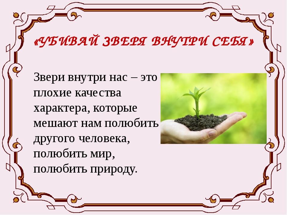 «УБИВАЙ ЗВЕРЯ ВНУТРИ СЕБЯ» Звери внутри нас – это плохие качества характера,...