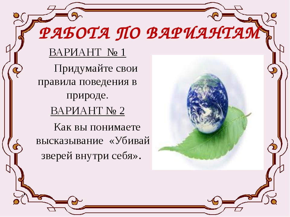 РАБОТА ПО ВАРИАНТАМ ВАРИАНТ № 1 Придумайте свои правила поведения в природе....