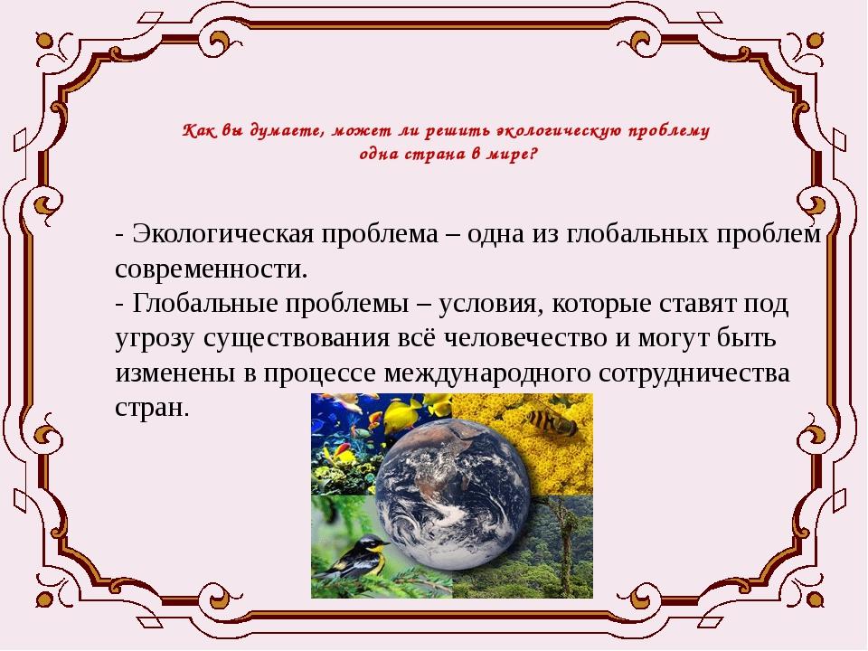 Как вы думаете, может ли решить экологическую проблему одна страна в мире? -...