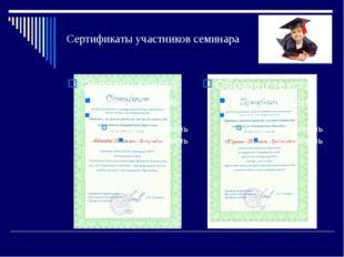 Сертификаты участников семинара