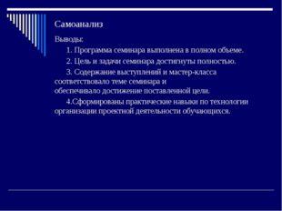 Самоанализ Выводы: 1. Программа семинара выполнена в полном объеме. 2. Цель и