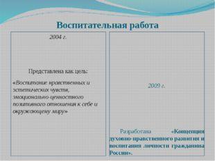 Воспитательная работа 2004 г.  Представлена как цель: «Воспитание нравственн