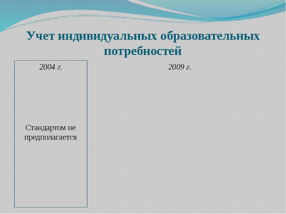 Учет индивидуальных образовательных потребностей 2004 г. Стандартом не предпо...