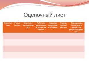 Оценочный лист Фамилия, имя Роль в группе Отметка о выполнении Д/З Работа по