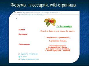 Форумы, глоссарии, wiki-страницы