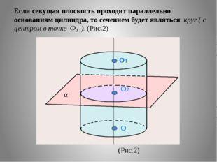 Если секущая плоскость проходит параллельно основаниям цилиндра, то сечением