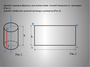 Давайте выведем формулу для вычисления полной поверхности цилиндра. (Рис.1) Д