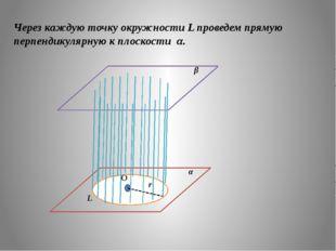 Через каждую точку окружности L проведем прямую перпендикулярную к плоскости
