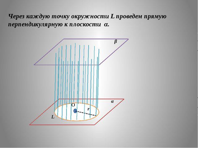 Через каждую точку окружности L проведем прямую перпендикулярную к плоскости...
