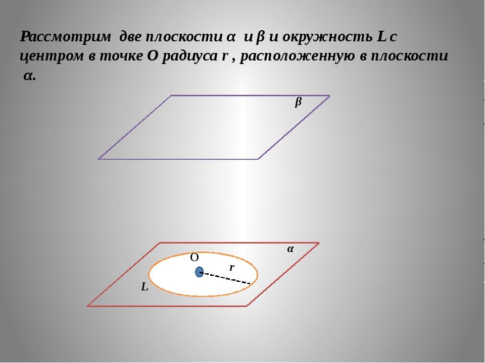 Рассмотрим две плоскости α и β и окружность L с центром в точке О радиуса r ,...