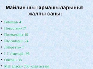 Романы- 4 Повестері-17 Поэмалары-19 Пьесалары- 24 Либретто- 1 Әңгімелері- 96