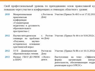 Свой профессиональный уровень по преподаванию основ православной культуры пов