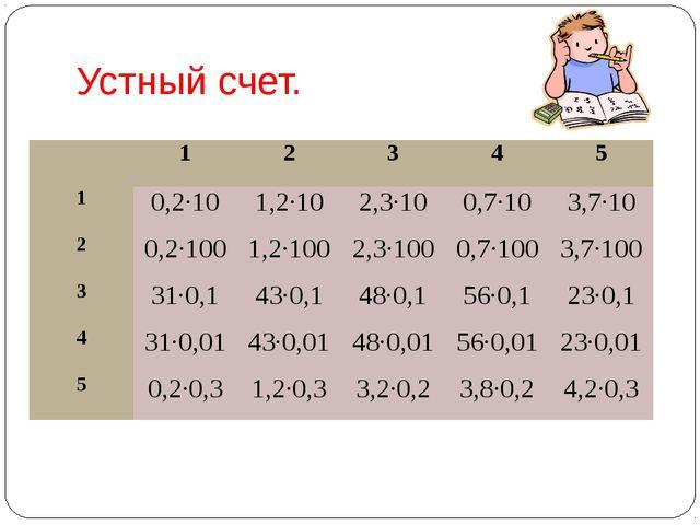 Устный счет. 1 2 3 4 5 1 0,2∙10 1,2∙10 2,3∙10 0,7∙10 3,7∙10 2 0,2∙100 1,2∙100...